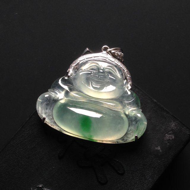 冰种飘翠佛公 翡翠挂件 尺寸24-30-9mm图4