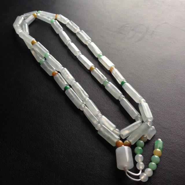 糯冰种路路通天然翡翠项链 38颗 单颗尺寸17-6-5毫米图8