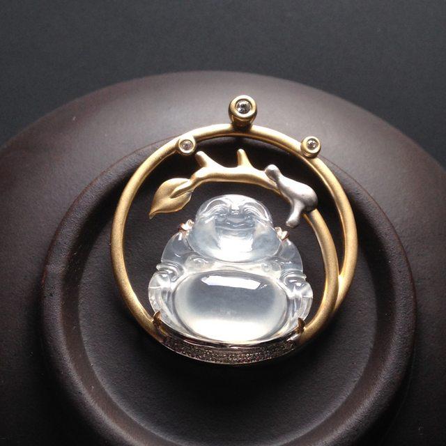 冰种荧光佛公 翡翠吊坠 裸石尺寸16-18-5毫米