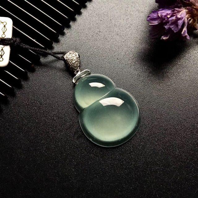 冰种葫芦 翡翠吊坠 尺寸: 24-18-7.5mm