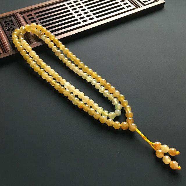冰黄佛珠翡翠项链 单个佛珠直径5.2毫米