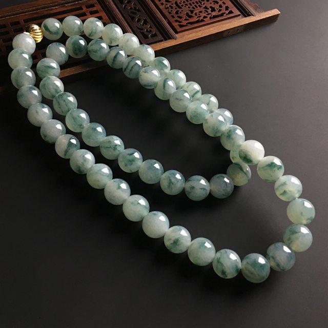 冰糯种飘花翡翠佛珠项链 单颗直径11.5毫米