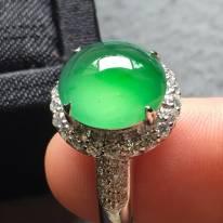 11*10.6*5寸玻璃種木那綠 緬甸天然翡翠戒指