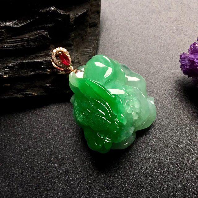 带色花开富贵 翡翠吊坠 小巧 尺寸: 25.5-24.5-15mm