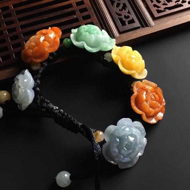 糯冰多彩花开富贵翡翠手链 单个尺寸28-25-11mm