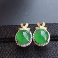 冰种阳绿 花型 翡翠耳钉大小9.7*9*4mm