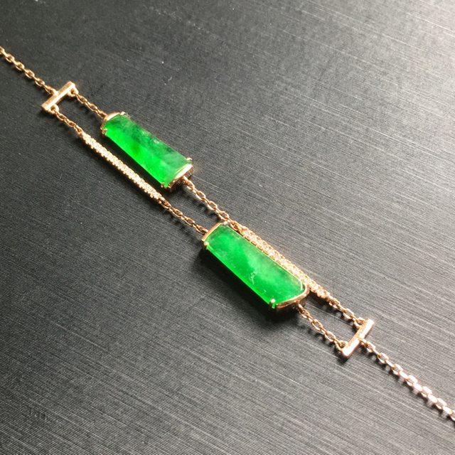 冰阳绿随形翡翠手链13.9*4.9*2.9