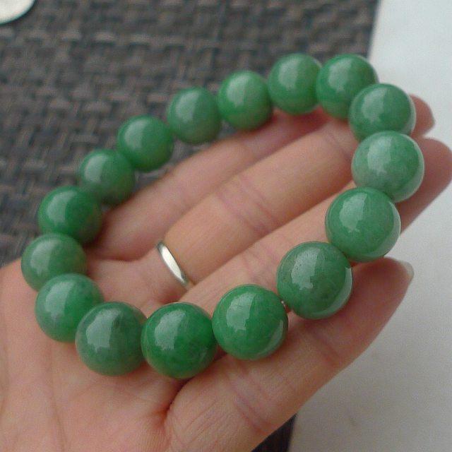 糯冰满绿13.3mm圆珠招财翡翠手链