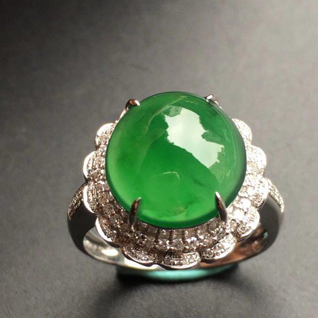 12.1*11.3*6mm冰种满绿 翡翠戒指