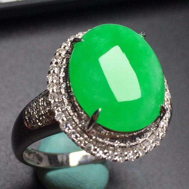 冰种阳绿蛋面 缅甸天然翡翠戒指12.4*9.3mm