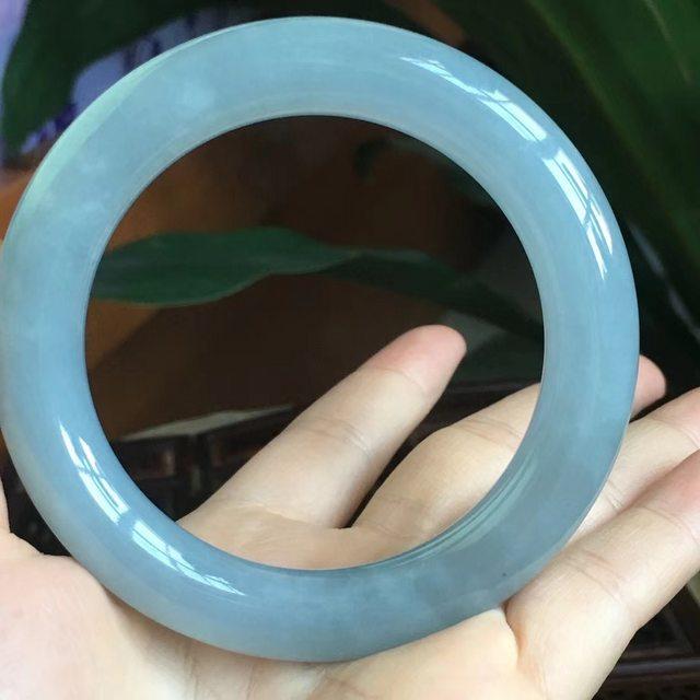 天然A货翡翠手镯 冰糯种紫罗兰圆条手镯 尺寸56*11.5图6