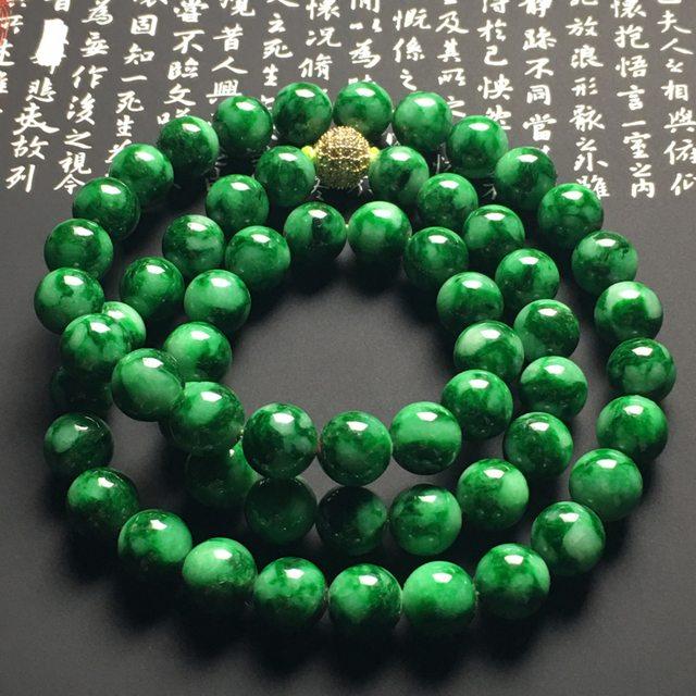 糯冰阳绿翡翠珠链 60颗