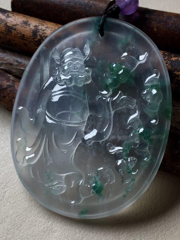 玻璃种飘花五福临门翡翠吊坠 50.5*40.5*6.8