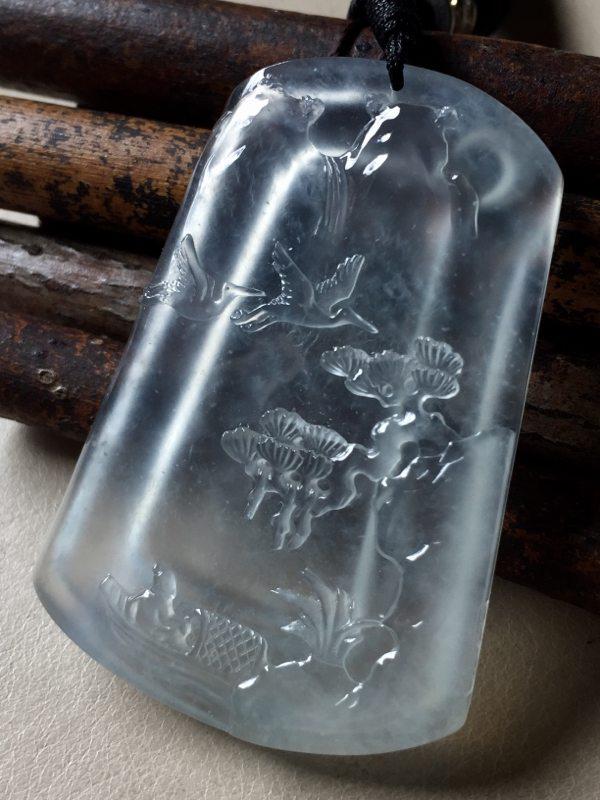 玻璃种山水翡翠吊坠 尺寸50.2*35*6
