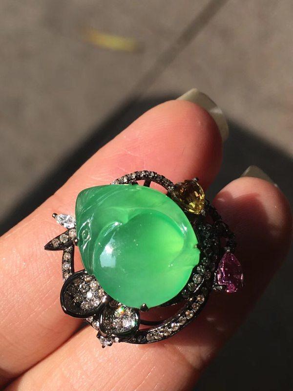 玻璃种甜美木那 翡翠戒指15.512.54.5mm
