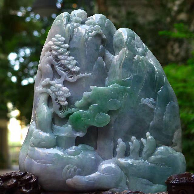 老坑蓝水飘绿 灵山问道山水翡翠摆件图6