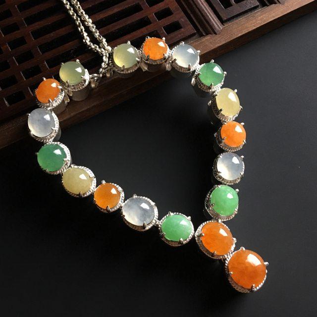 多彩蛋面翡翠项链 8-7-4.5毫米