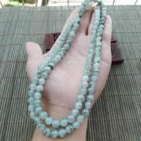 好种飘花圆珠天然翡翠项链 珠大取一7.5mm