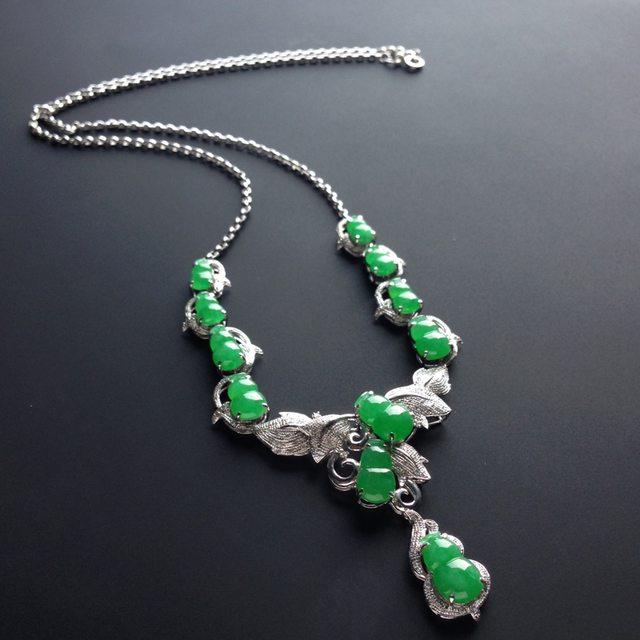 冰种阳绿 福禄翡翠套链 大12-7-3毫米