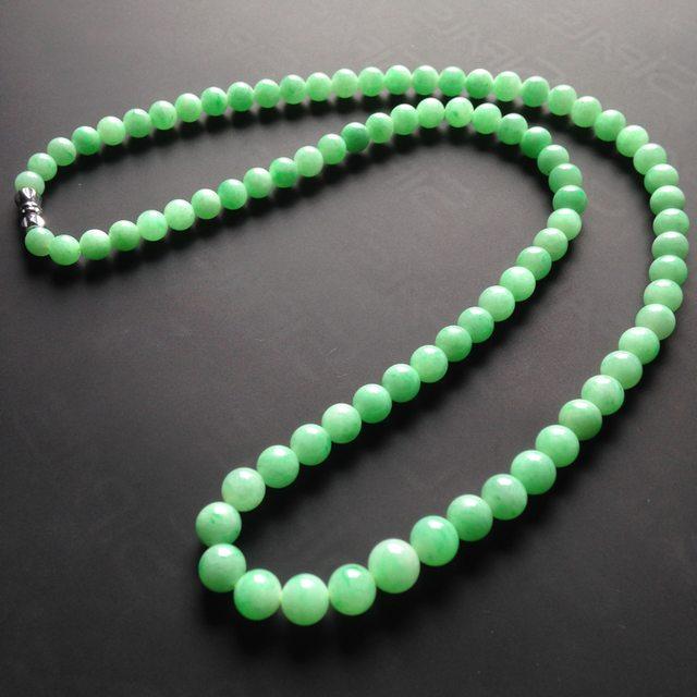 糯冰种满绿翡翠项链 84颗