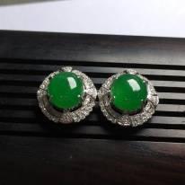 冰种满绿 色泽鲜艳翡翠耳坠