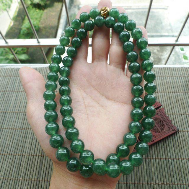 满绿圆珠翡翠项链取一10.5mm