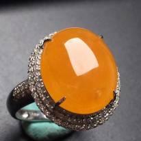 冰糯种黄翡蛋面戒指 真金真钻镶嵌 种水超好
