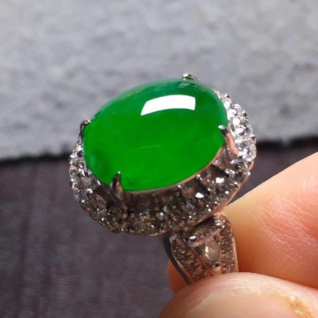 11*9.3*5寸冰阳绿 缅甸天然翡翠戒指