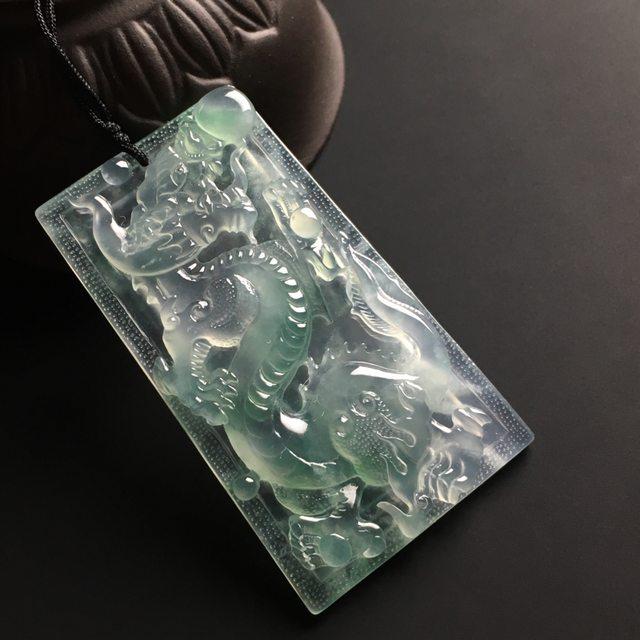 冰种飘花 龙牌翡翠挂件 尺寸54-30-5.5毫米