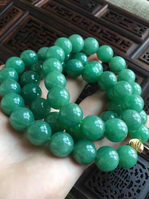 天然A货完美翡翠 冰糯种满绿大珠子项链