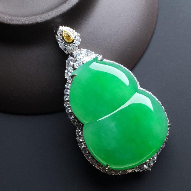 冰种阳绿葫芦 裸石尺寸:31.5-24-5.5毫米