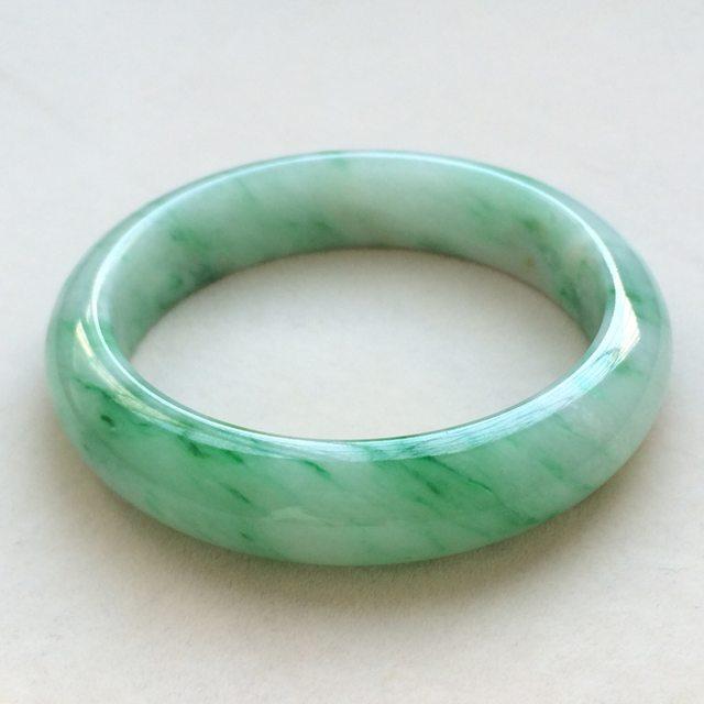 冰种飘绿花翡翠手镯  缅甸天然翡翠正圈手镯  尺寸 53.5寸
