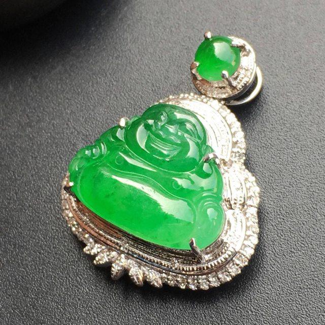 冰种阳绿翡翠吊坠 18k金钻石镶嵌