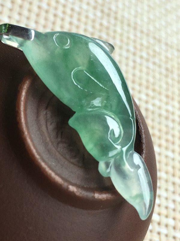 高冰飘绿 海豚翡翠吊坠