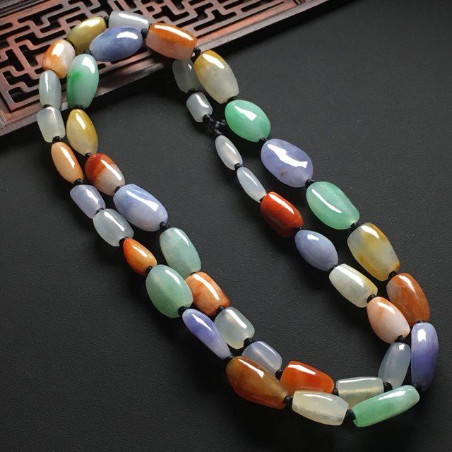 冰种多彩天然翡翠珠链 取大尺寸17-11-9.5
