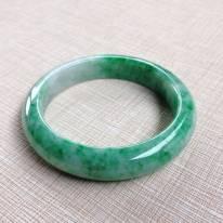 糯種飄綠翡翠手鐲 緬甸天然翡翠54寸正裝手鐲