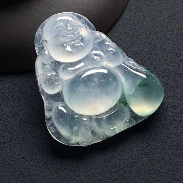 冰种飘花布袋佛 翡翠吊坠 尺寸:39-36-6.5毫米