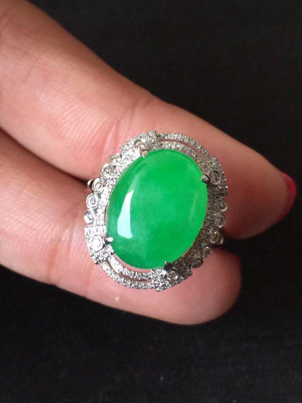 冰种正阳绿 缅甸天然翡翠戒指