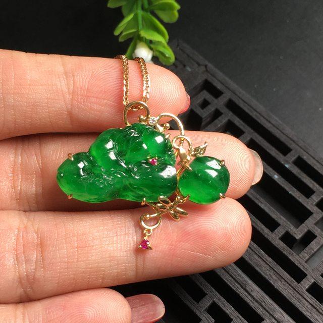 阳绿貔貅 翡翠吊坠 尺寸32.3*28.5*5mm