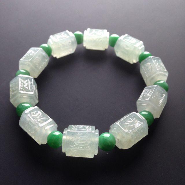 冰种荧光仿古翡翠手链 10颗