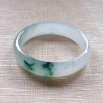 冰种绿花翡翠贵妃镯:55.7-49.5-14.5-6.5mm