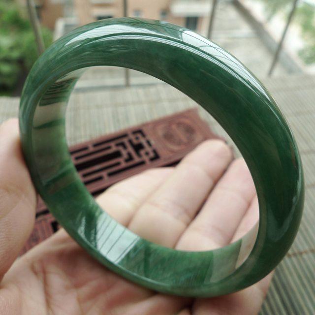 A货翡翠老坑油青满绿正装手镯58mm