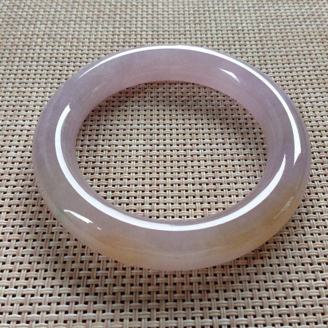 冰紫黄翡手镯  天然翡翠圆条手镯 尺寸 54.3x11.7x11.5mm