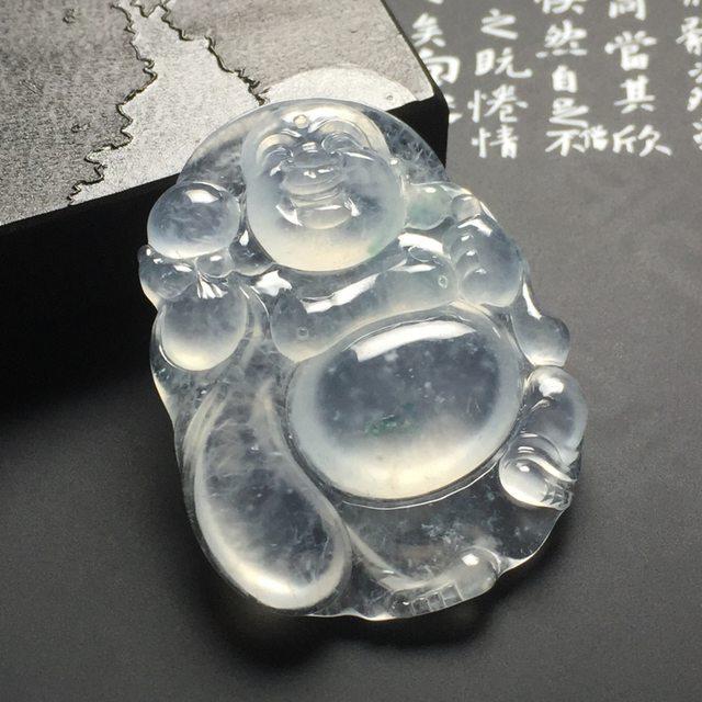 冰种布袋佛 翡翠吊坠 尺寸49-38-7.8毫米