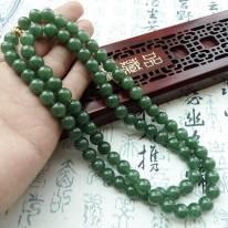 A货翡翠 好种满绿翡翠圆珠项链