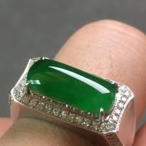 冰种满绿马鞍 缅甸天然翡翠戒指