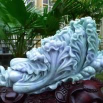 缅甸A货 糯种春彩大件翡翠白菜摆件