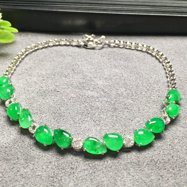 冰种阳绿水滴翡翠手链6.0*4.5*3.8mm