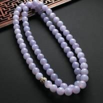 冰蓝紫罗兰翡翠项链 共78颗 单尺寸9mm