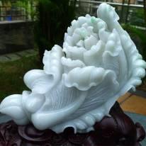 冰糯大白菜翡翠摆件 雕刻精美